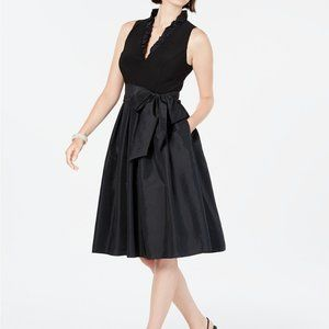 Jessica Howard Ruffled-Collar Fit & Flare Dress